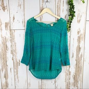 Lucky Brand Turquoise Mesh Embroider Top Like New!